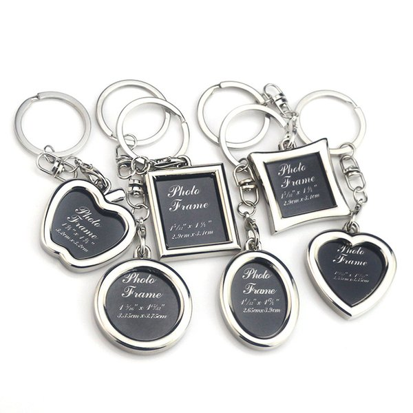 Mini Creative Metal Alloy Insert Photo Picture Frame Keyring Keychain Gift Rotary Keychain Keyring Customize Lo'go