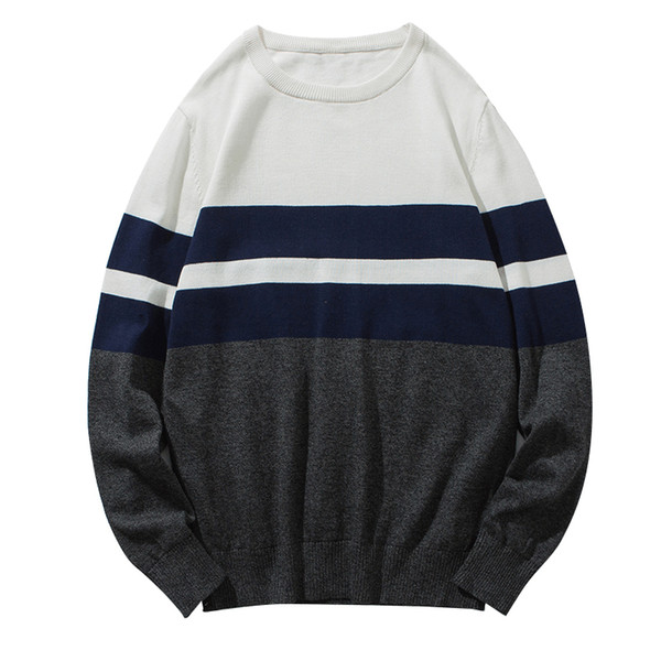 MENSWORE Hommes Chandail Brand New Casual Mode Pulls Mâle À Manches Longues Fit O-Neck Rayé Affaires Tricots D'hiver Pull Homme