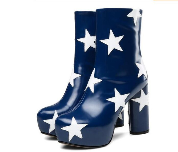 2018 New European Fashion Spring/Autumn Five stars Pattern Leather Women Ankle Boots Round-toe Zipper Chunky Heel Boots Women