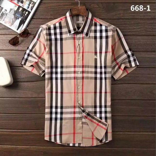 best selling fashion brand self-contained lattice shirt, fashion designer brand short sleeved cotton casual shirt striped #414510
