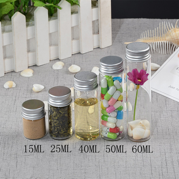 Glass Bottles Screw Top Empty Wishing Bottles 15ml 25ml 40ml 50ml 60ml Aluminium Cap Seal Jars Food Grade Bottles 24pcs