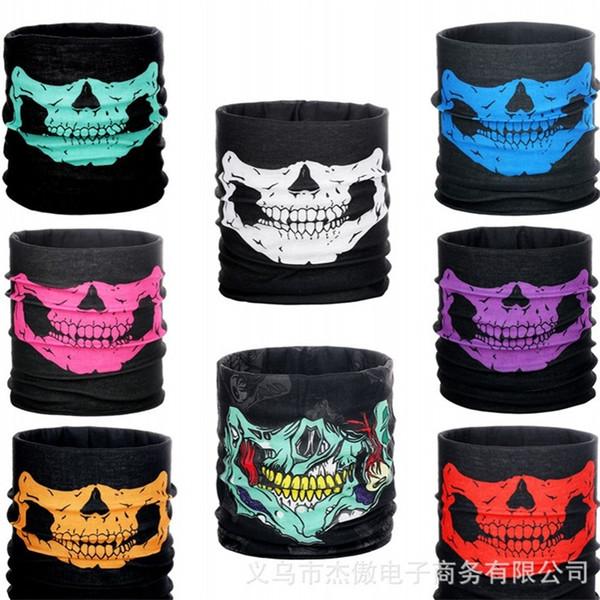Многофункциональный бесшовные магия головной платок Хэллоуин опора партии косплей полный череп маски для лица зуб теплый шеи рукав 0 98xm bb