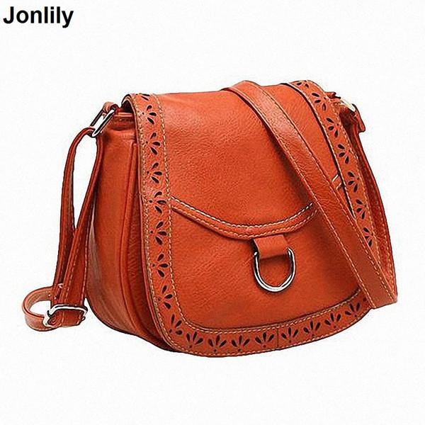 2018 Pu Leather women's Saddle Handbag Fashion Vintage Small Bag women's Hollow Out cross-body Messenger Bag LI-1049