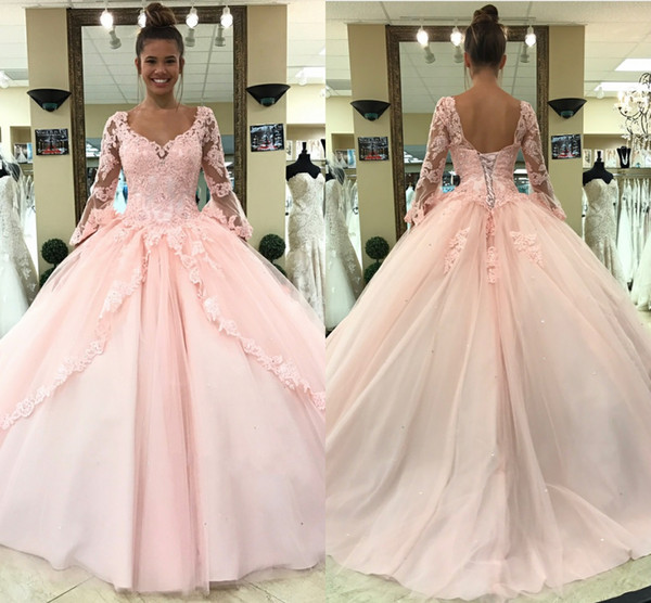 d7ff90e21e14 2018 Light Pink Quinceanera Dresses Long Sleeves Ball Gown Princess Sweet  16 Birthday Sweet Girls Prom