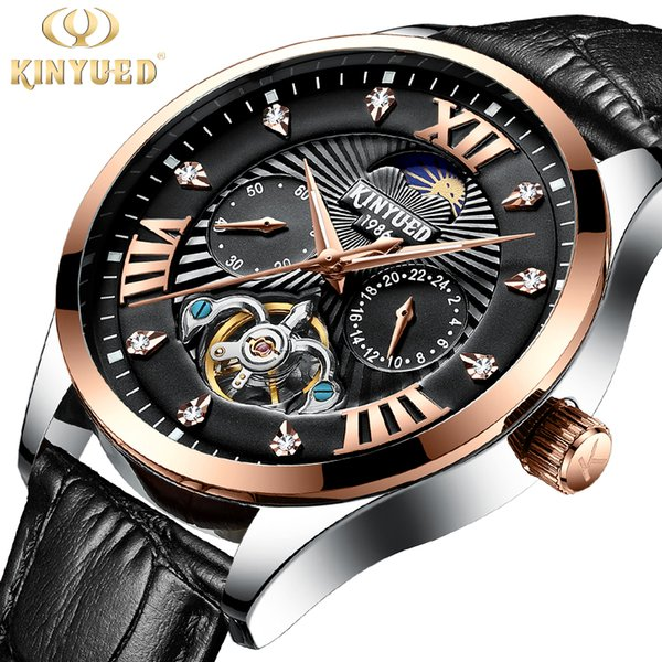 KINYUED Hot Racing Series Black Dial Complete Calendar Luminous Hands Mens Automatic Watches Toubillion Design Relojes Masculino