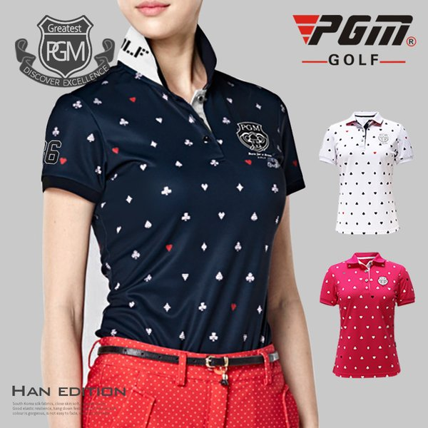 PGM Summer short-sleeve Golf shirts Women Elasticity Breathable Quick golf Sportswear Tops Women's Sport printing T-shirts