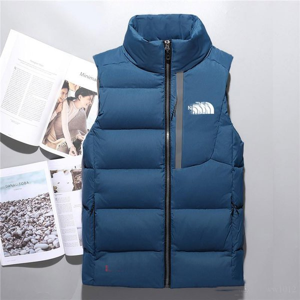 Hot 2018 men down jacket North vest Male Sports Jackets Bomber Collar Zippers Outdoor face Coats
