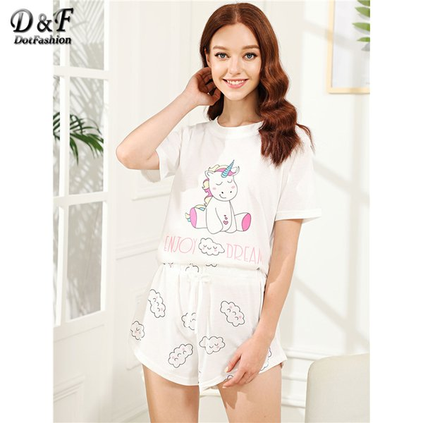 Dotfashion White animal Cloud Print Cartoon Cotton Pajama Set 2018 Summer Women Round Neck Short Sleeve Knot Casual Nightwear