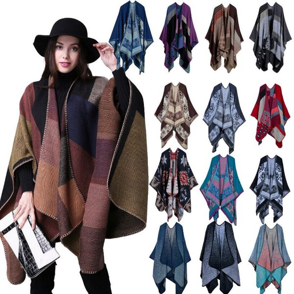 Cashmere Ponchos 18 Styles Women Girls Pashmina Scarf 130*155CM Plaid Capes Winter Warmer Shawl Knit Outdoor Wrap Jacket OOA5521