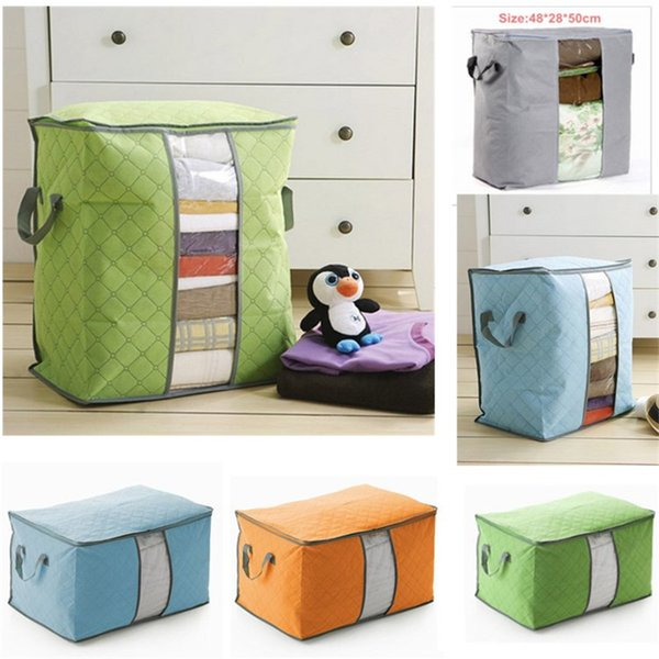 Portable Non Woven Quilt Storage Bag Clothing Blanket Pillow Underbed Bedding Big Organizer Bags House Room Storage Boxes Buggy Bags 2size