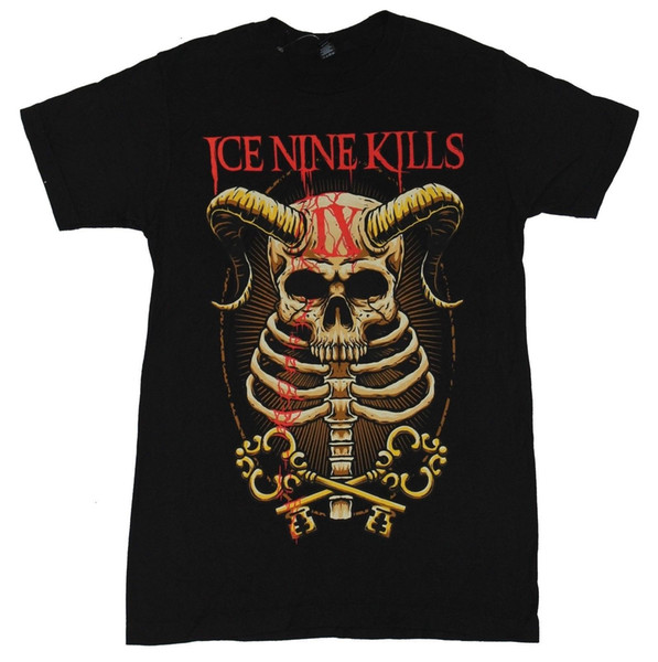 Ice Nine Kills Mens T-Shirt - Horned Skull Ribcage IX Key Image Mens 2018 fashion Brand T Shirt O-Neck 100%cotton T-Shirt Tops Tee custom