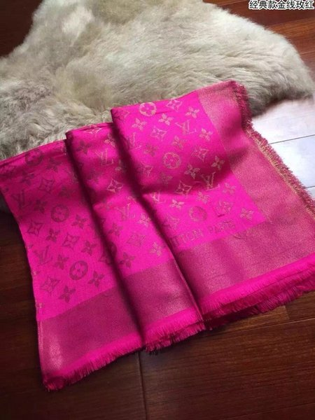 Celebrity design Cashmere Wool Cotton Scarf Gold Thread Woman Letter Printing Scarves Shawl Wrap Rose red 140*140cm