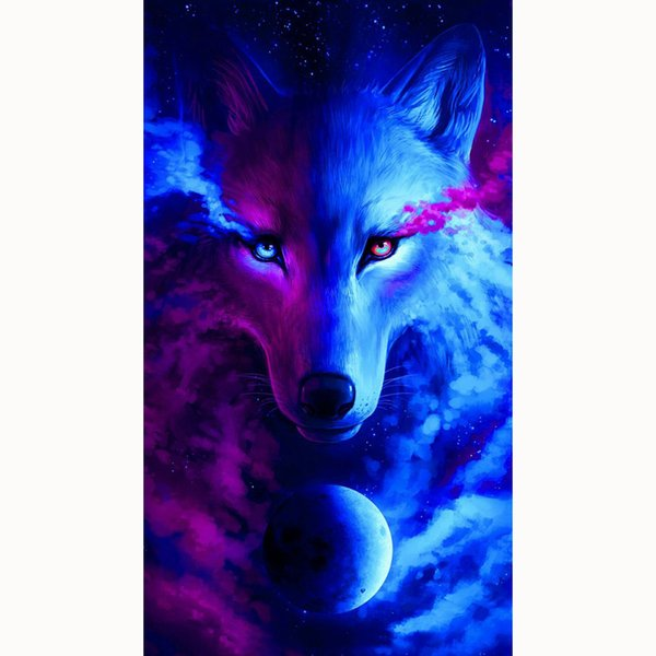5D Diy Diamond Cross Stitch, Diamond Embroidery, Home Decor, Crafts, Mosaic, Embroidery Rhinestone, Planet, Devil Wolf