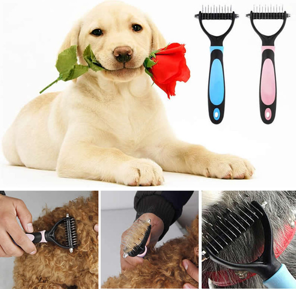 Haustier Hund Pelz Knoten Haar Entfernen Kamm Cutter Trimmer Shedding Rake Pinsel Grooming Werkzeuge Für Langes Haar Lockiges Haustier AAA891