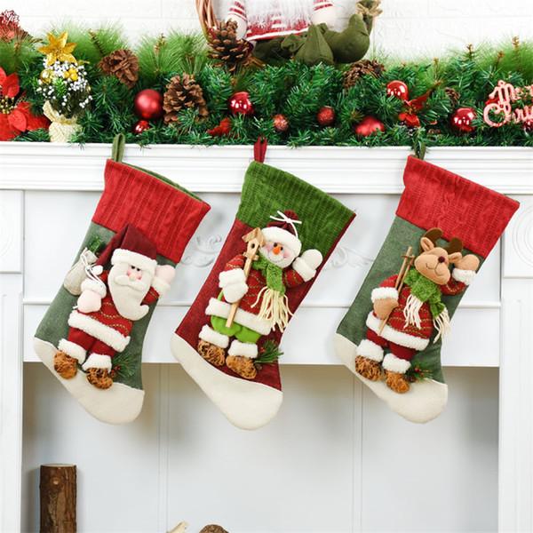 42cm Christmas Stockings Decoracion Navidad Christmas Decorations For Home Xmas Candy Gifts Bags Gift Natal Ornaments