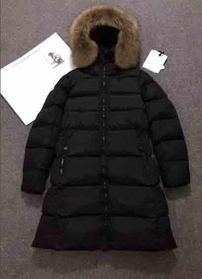M13 1 Brand Women Winter Down Coats Thick Long Parkas 100% Big Real Raccoon Fur Collar Hooded Down Jacket Black Red Color Women Jacket Ladies Jacket