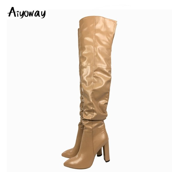 Aiyoway Fashion Women Ladies Pointed Toe High Heel Over The Knee Boots Block Heel Slouchy Winter Dress Shoes Beige US Size 5~15