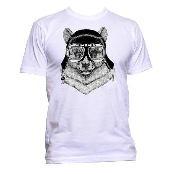 Aviador Urso Com Capacete Animal Pet T-Shirt Dos Homens Das Mulheres Unisex Moda Slogan