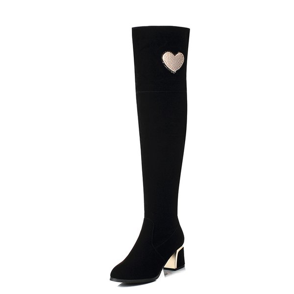 Scrub 2018 new thick with high-heeled heart rhinestone 33-43 yards over the knee women's boots tide 1893