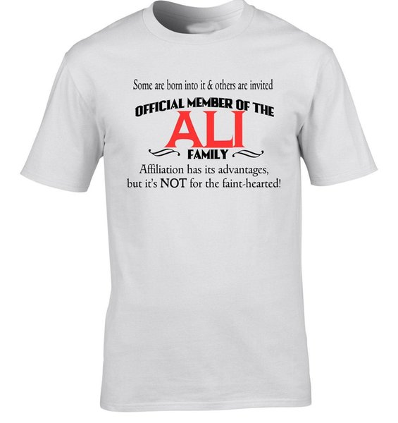 Ali Family Surname T-Shirt Birthday Gift Any Name Reunion Event Occasion Party