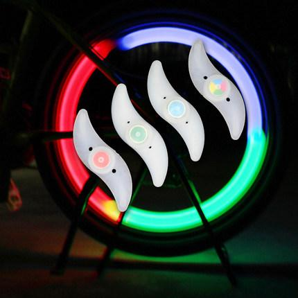 top popular Night Cycling Bike Spokes Luminous Light LED Leaf Shape Lamp Bicycle Lights Steel wire Colour Lamp Nocturnal Riding Safe Riding DHL 2021