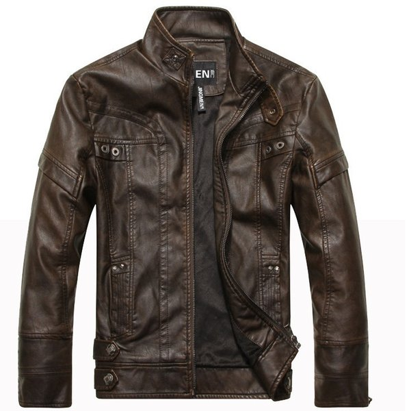 New Arrive Men's Classic Motorcycle Leather jacket Washer PU Stand Collar Autumn Warm, Jaqueta Couro Masculino Bomber