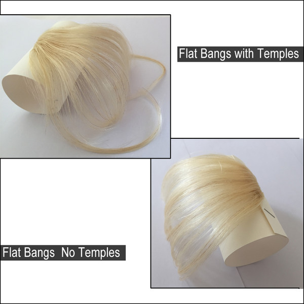 100% Real Human Hair Clip In Bangs Extension Hand Tied Hair Bangs with Temples One piece Hair Extensions