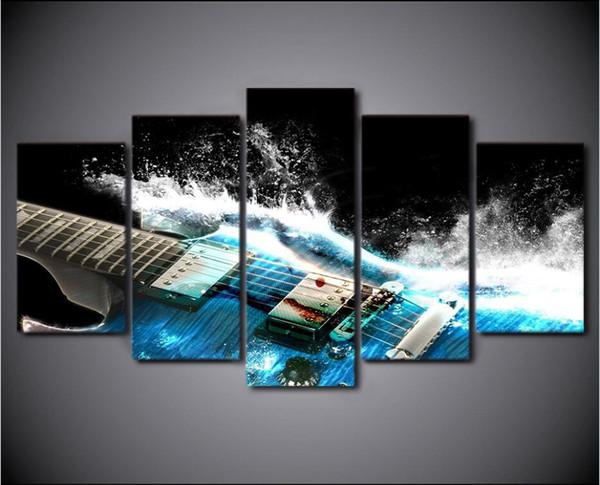 5 Panles Leinwand Wandkunst Musikinstrumente Bild Drucke Gitarre Malerei Moderne Giclee Kunstwerke Für Dekoration Ungerahmt