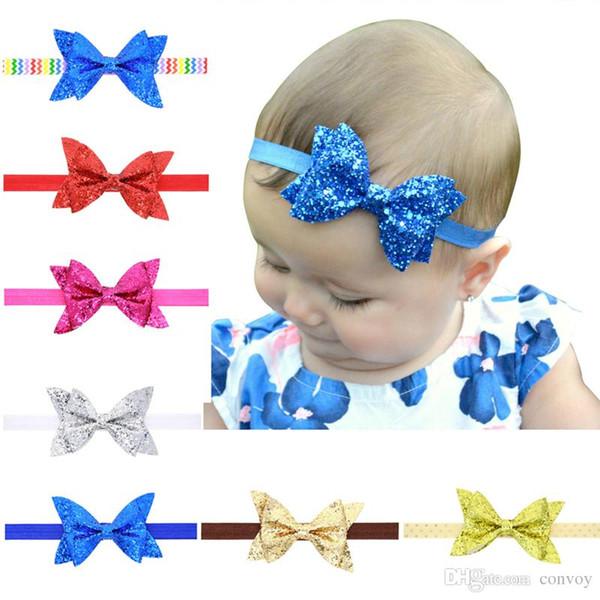 Newest Newborn Baby Headbands Sparkle Bows Girls Glitter Bowknot Headdress Fashion Kids Headwear Head Bands Children Hair Accessories KHA42