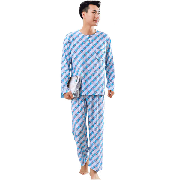 Autumn New Men O-Neck Shirt&Pant Lounge 2PCS Pajamas Set Loose Nightwear Plaid Negligee Cotton Sleepwear Male Home Clothes