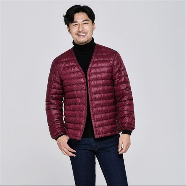2018 New spring and autumn ultra-light down jacket 90% white duck down Parkas lightweight warm V-neck slim short jacket men