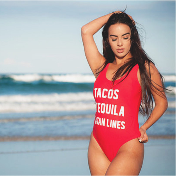 2018 Sexy Thong One Piece Swimsuit TACOS TEQUILA Female Women Fused Swimwear Backless Purple Brazilian May Bather Monokini XL YWXK