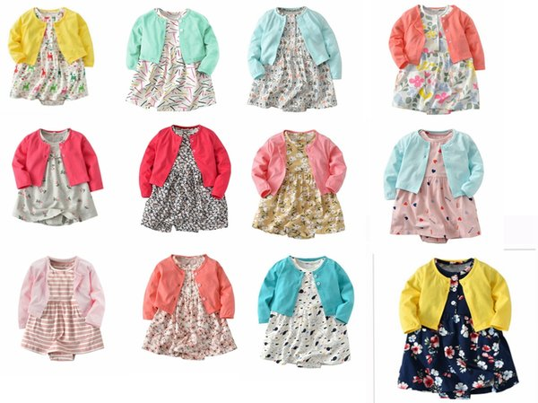 12styles Baby Long Sleeve Girl Coat + Floral Dresses 2pcs/lot Cotton Fabric Newborn Baby Girl Skirt Set