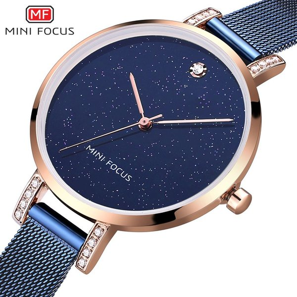 MINI FOCUS Brand Women Watches Quartz Rose Gold Luxury Stainless Steel Ladies Wrist Watch Female Diamonds Clock Relogio Feminino