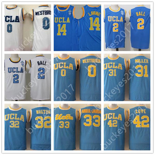 UCLA Bruins #0 Russell Westbrook 2 Lonzo Ball 33 Abdul-Jabbar Kevin Love LaVine Blue White NCAA College Basketball Jerseys S-3XL