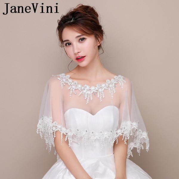 JaneVini Bridal Lace Bolero Beaded Wedding Cape Sheer Bride Shrug Women Evening Party Wraps Accessories Bolero En Dentelle