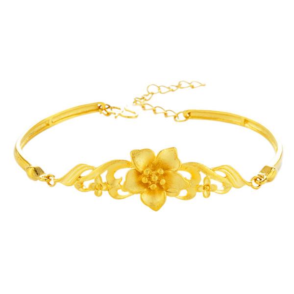 Bracelet en or doré Peacock Cachemire imitation or bracelet femme sable fleur dame papillon en laiton pur ornements