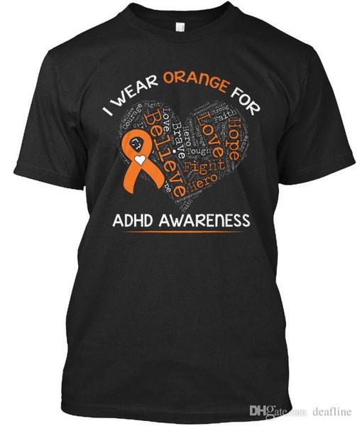 T-Shirt Funny Dog Lover S Eu 003 Standard Unisex T-Shirt Plus Size Casual ClothingT-Shirt 2018 I Wear Orange- Adhd Awareness - Orange For S