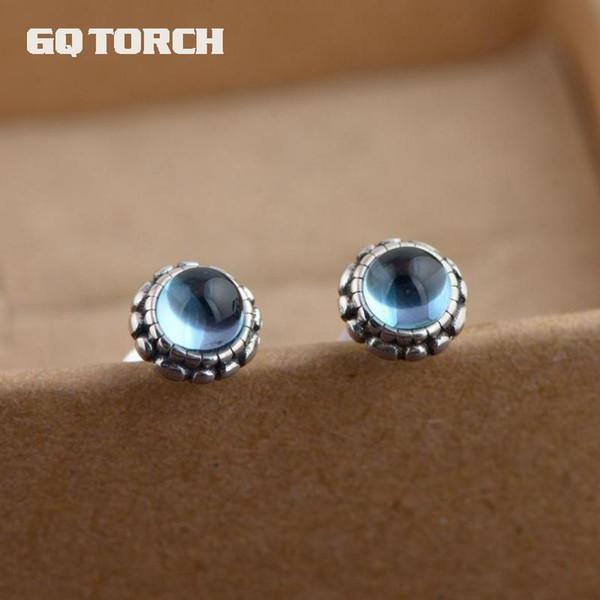 GQTORCH 925 Sterling Silber Blau Topaz Ohrringe Ohrstecker Für Frauen Vintage Art Thai Silber Blume Design Brincos 2017