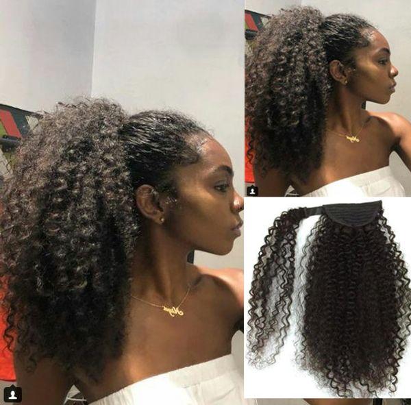 160g Afroamerikaner pechschwarz Afro Puff Kinky Curly Pferdeschwanz Echthaarverlängerung natürliche lockige Hochsteckfrisuren Pferdeschwanz Haarteil