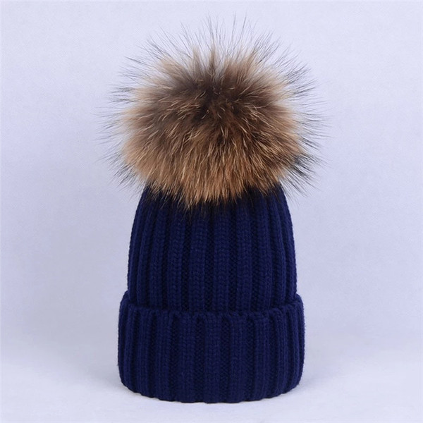 Children Child Kid-100% Real Genuine natural raccoon Fur With Pompom Ball Knitted Hat Beanie Cap