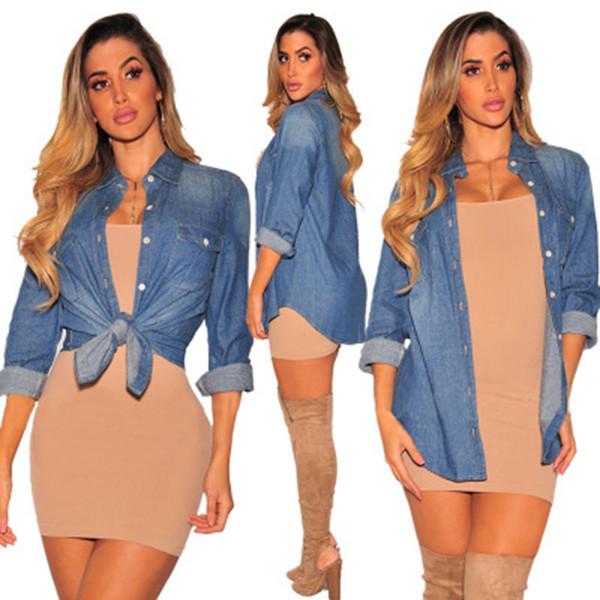 Women shirt 809 s-xl 2018 new autumn mid-length style denim shirt jacket Loose long sleeved blouse top