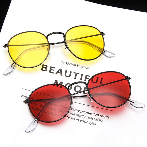 Retro Round Sunglasses Women Brand Designer Red Yellow Sun Glasses For Womens Alloy Frame Mirror Sunglass Female Shades