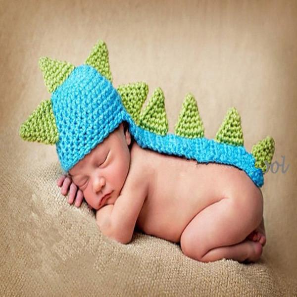 Горячие продажи детские синий комбинезон динозавр костюм вязаный цилиндр для новорожденных 2018 крючком малышей одежда производитель питания реквизит