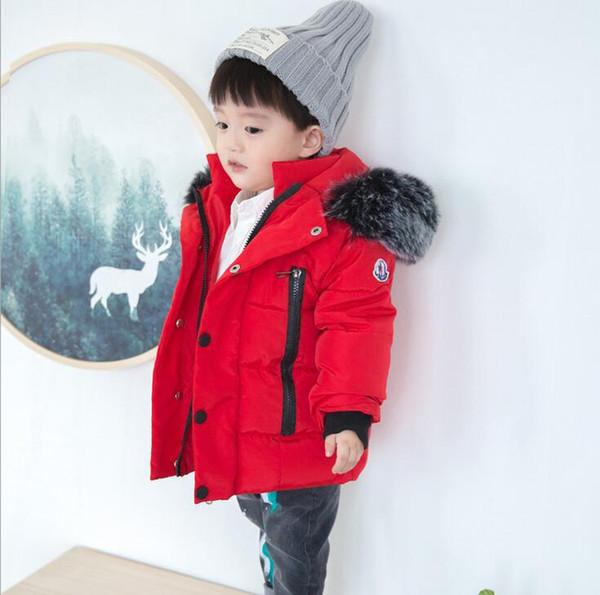 2018 Kış Kalınlaşmak Sıcak Çocuk Aşağı Pamuk Mont Parkas Moda Büyük Kürk Şapka Hooed Ceketler Marka Erkek Kız Giyim Sıcak