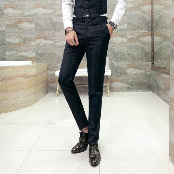Compre Pantalones De Vestir De Estilo Británico Hombres De Alta Calidad Negro Slim Fit Caballeros Pantalones Para Hombre Casual Night Club Host