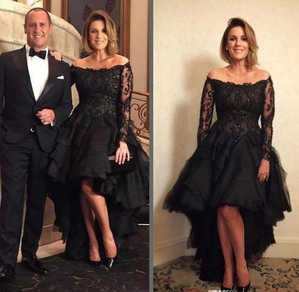 2018 High Low Black Evening Dresses With Long Sleeve Off Shoulder Appliques Beads Tired Skirt Prom Special Occasion Mother Gowns Vestidos