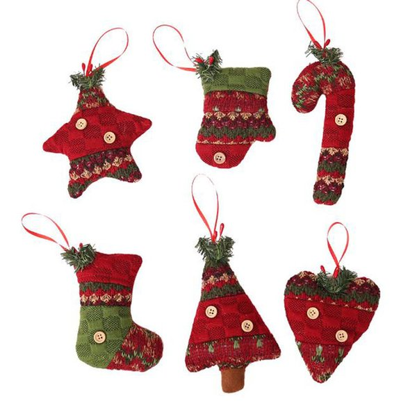 New Creative Christmas Decorations Cute 6 Styles Hang Decorations Christmas Tree Hanging Ornament Socks Gloves Cane Gift Toys