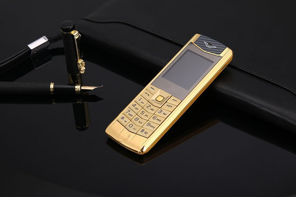 Unlocked Luxury stainless steel mobile phone Dual sim card metal body MP3 Camera Bluetooth Golden kids Car cell phone cellphone