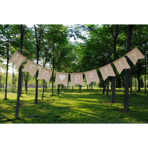 Hen Party Hessian Bunting Banner Rustic Bridal Shower Vintage Banner Bunting Hen Party Bachelorette Party Night Decorations